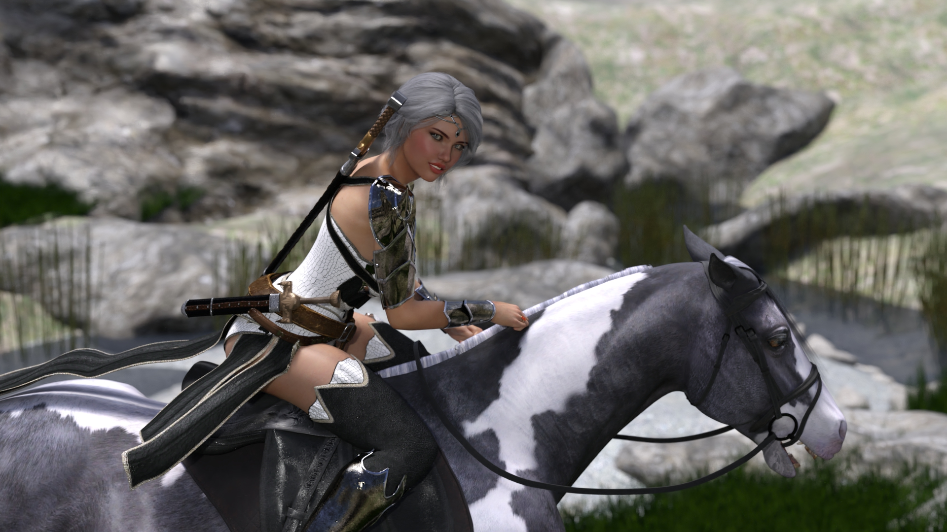 Ciri from the Witcher universe in sexy clothes on a horse.